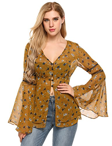 Zeagoo Women V-Neck Floral Bell Sleeve See Through Chiffon Shirt Yellow XL ()
