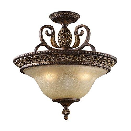 Alumbrada Collection Regency 3 Light Semi Flush In Burnt Bronze And Gold Leaf (Burnt Leaf Gold Sconce)