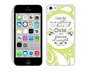 Case,Iphone,Amazon,Belt Clip and Case Combo,Christian Theme - Bible Verse Philippians 413 - Durable and lightweight Cover Case iPhone 5C Case White Cover