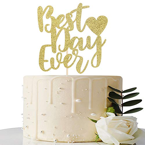 Gold Glitter Best Day Ever Cake Topper