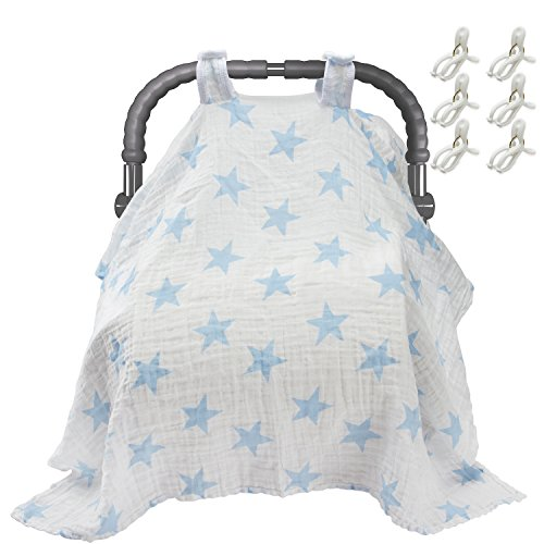 Biubee Baby Car Seat Cover with Free Clips - 47.2X33.5inch - Breathable Cotton Car seat Canopy (Car Seat Covers Baby Camo)