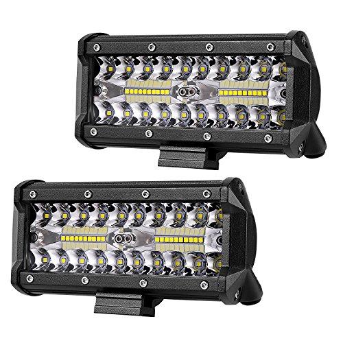 LED Pods Light, AKD Part 2pcs 7inch 160W LED Light Bar Triple Row Flood Spot Combo Beam OSRAM LED Work Light LED Driving Lights Super Bright Off Road Lights for Truck Motorcycle Boat, 2 Years Warranty