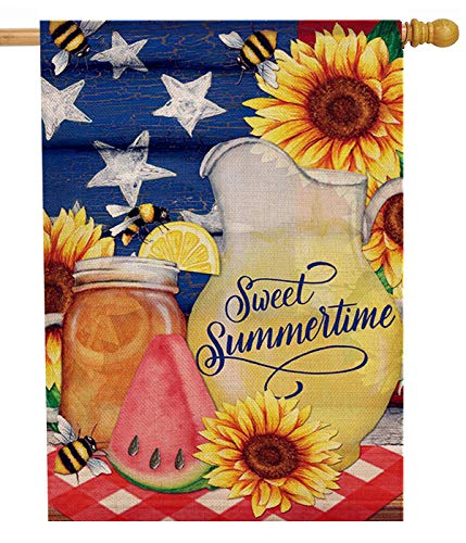 Dyrenson Watermelon Flower 28 x 40 House Flag Summer Double Sided, Sunflower Mason Jar Burlap Garden Yard Decoration Patriotic Star, Floral Seasonal Outdoor Décor Decorative Spring Large Flag Lemon