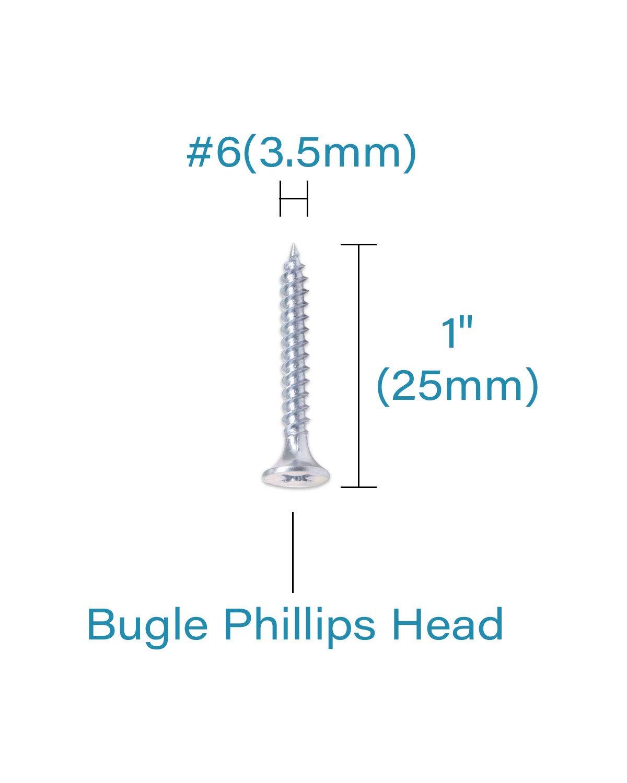 Gray Phosphate IMScrews 200pcs #6x1 Flat Head Phillips Drywall Screws Fine Thread Sharp Point Wood Screw Assortment Kit Carbon Steel 1022A