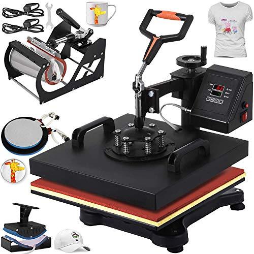 VEVOR Heat Press 12 X 15 Inch Heat Press Machine 5 in 1 Digital Multifunctional Swing Away Heat Press Machine for T Shirts Hat Mug Cap Plate(Gift T-Shirts and Stickers)