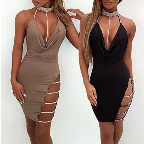 Sexy Halter Party Dress, Sale Womens Summer Deep V Neck Backless Slit Sequin Clubwear Night Mini Cami Dress (Black, M) by QIBOOG (Image #3)