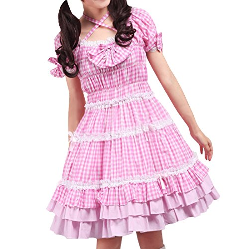 Rosa Love ueberpruefen Partiss Kleid Shepherd Frauen Lolita Rueschen Sweet Swn7qC78R