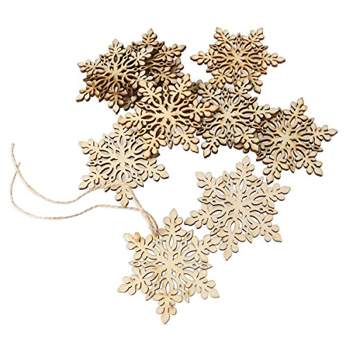 (ROSENICE Wooden Snowflake Christmas Decoration Hanging Ornament Pendants Pack of 10)
