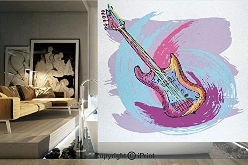 (Decorative Privacy Window Film/Illustration of Electric Guitar Artistic Modern Musical Festive Decorative/No-Glue Self Static Cling for Home Bedroom Bathroom Kitchen Office Decor Lavander Purple Aqua)