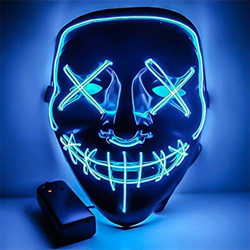 Amberqin LED Frightening Light Up Purge Halloween Cosplay Wire Mask for Festival Parties Glow,Costume(7 Colors) (Blue) -