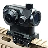 IRON JIA'S Tactical Holographic Micro T-1 1X24 Red & Green Dot Scope Riflescope Black with Riser Mount Rifle Hunting (M1G)