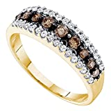 chocolate diamond gold ring - Brown Diamond Wedding Band Solid 14k Yellow Gold Fashion Chocolate Ring Three Row Pave Set Style 1/2 ctw