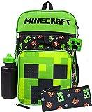 Minecraft Creeper TNT Print 5 Pc Backpack Bookbag Set Lunch Box Water Bottle
