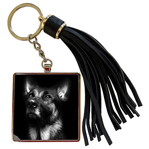 3dRose Stamp City - animals - Black and white photo of a regal German Shepherd painted in Photoshop. - Tassel Key Chain (tkc_295257_1)