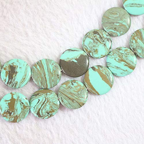 Calvas New Green&Brown Stripes Calaite turquoises Stone 12mm 14mm 16mm 20mm Coin Shape Loose Beads DIY Jewelry 15
