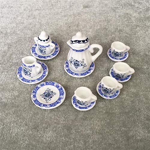 Miniature Tea Set 1/12 Scale Porcelain Tea Cup Tiny Teapot Platter Dishes Dollhouse Kitchen Accessories for Toy House Decoration (Pink Rose-15Pcs)