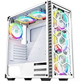 MUSETEX - ATX Mid-Tower PC Gaming Case - 6 PCS 120mm Fans Digital ARGB Lighting - 2 Tempered Glass Panels USB 3.0 - White Frame - Computer Chassis Desktop Case(903S6W) (Color: 903S6-W-NEW)