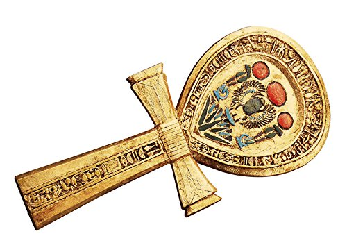 Ankh Egyptian Mirror - Ancient Egyptian Winged Scarab Dual Cobra Ankh Shaped Hand Mirror Figurine