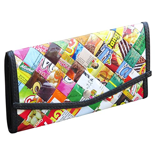 Small snap wallet using candy wrappers - FREE SHIPPING - upcycled eco friendly vegan recycled reclaimed salvaged handmade unique trifold bifold purse credit card insert gum sweets wrapper wraps wrap
