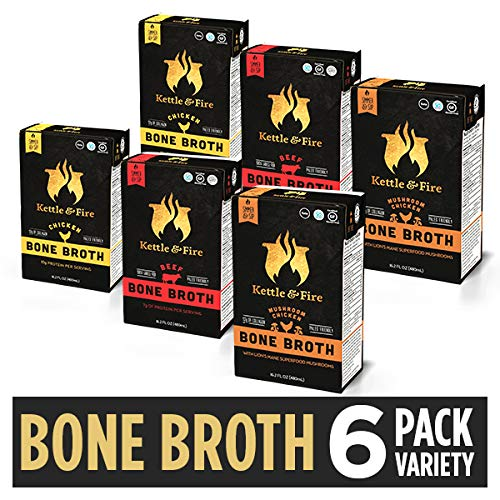 Bone Broth Soup Variety Pack 2 Beef, 2 Chicken, and 2 Mushroom Chicken by Kettle and Fire, Keto Diet, Paleo Friendly, Whole 30 Approved, Gluten Free, with Collagen, 10g of -