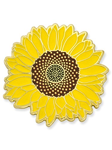 Enamel Flower Pin - PinMart Detailed Yellow Sunflower Summer Enamel Lapel Brooch Pin