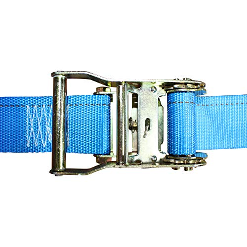 E-Track Cargo Strap - SGT KNOTS - E Track Heavy Duty Adjustable Ratchet Straps - ETrack Lashing Tie Down for Loading Truck Bed, Flatbed, Roof Rack (2 in x 20 ft Strap with Rachet - 2 Pack - Blue)