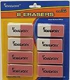 A+ Homework Erasers - Pink - 8 Pack - Large Beveled(Pack of 48)