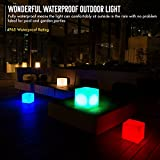 INNOKA 12-inch Large LED Light Cube [Unique Granite Design] Waterproof Cordless Rechargeable Decorative Dimmable Mood Lamp Remote Control [16 Color Changing] 4 Lighting Effects for Pool Outdoor Party
