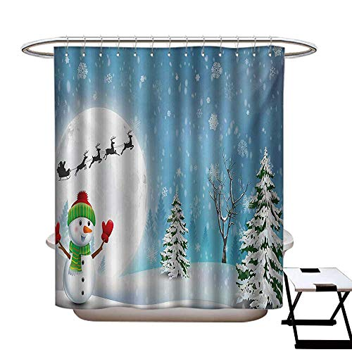 BlountDecor Christmas Shower Curtains Digital Printing Jolly Snowman Under Full Moon Waving to Santa Claus with Reindeer Sleigh Kids Satin Fabric Bathroom Washable W72 x L72 White Blue