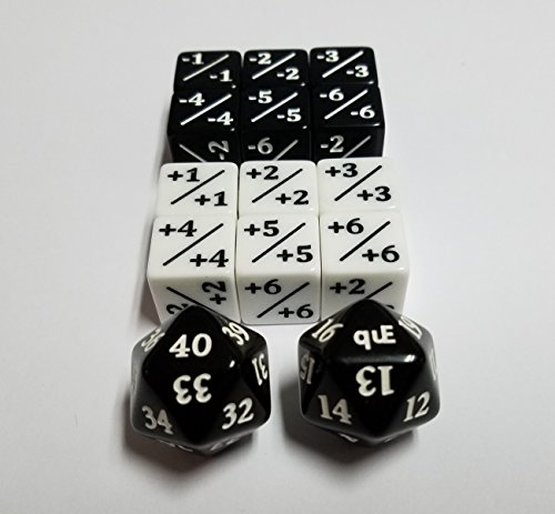 Life Of Game Dice (Magic Counter Set & Black Commander / EDH Spindown Life Dice Set (40-21 & 20-1))