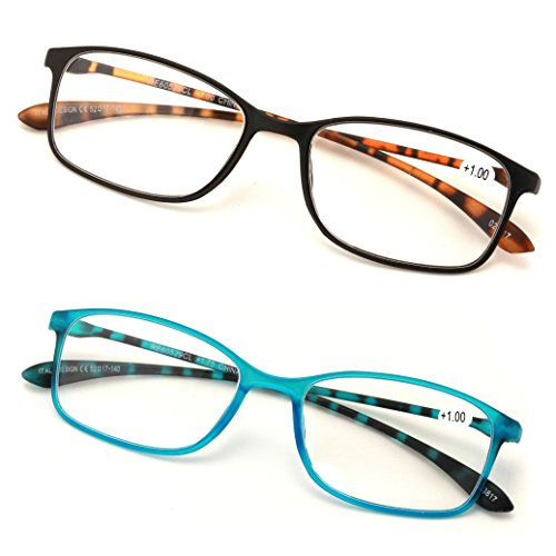 b623e2b9e8 V.W.E. 2 or 3 Pairs Rectangular Lightweight Flexible Temple Readers -  Colorful Reading Glasses
