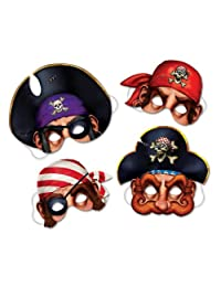 Beistle 66801 4-Pack Pirate Masks, 12-Inch