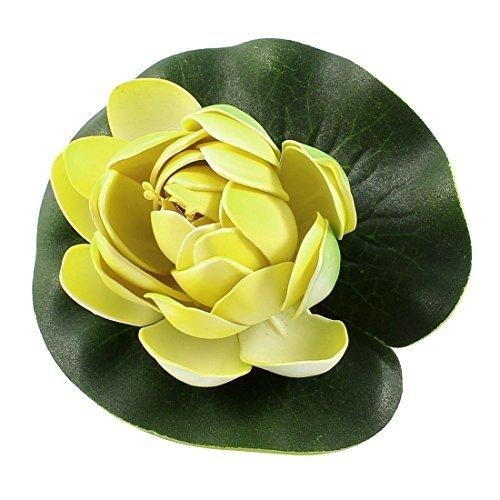 eDealMax Lotus Aquarium Mousse Décor eau Fleur Plante Verte/Jaune