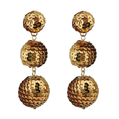 COIRIS Black Sequin Ball Dangle Stud Earrings For Women Beaded Statement Drop Earrings (Sequin Beaded Earrings)