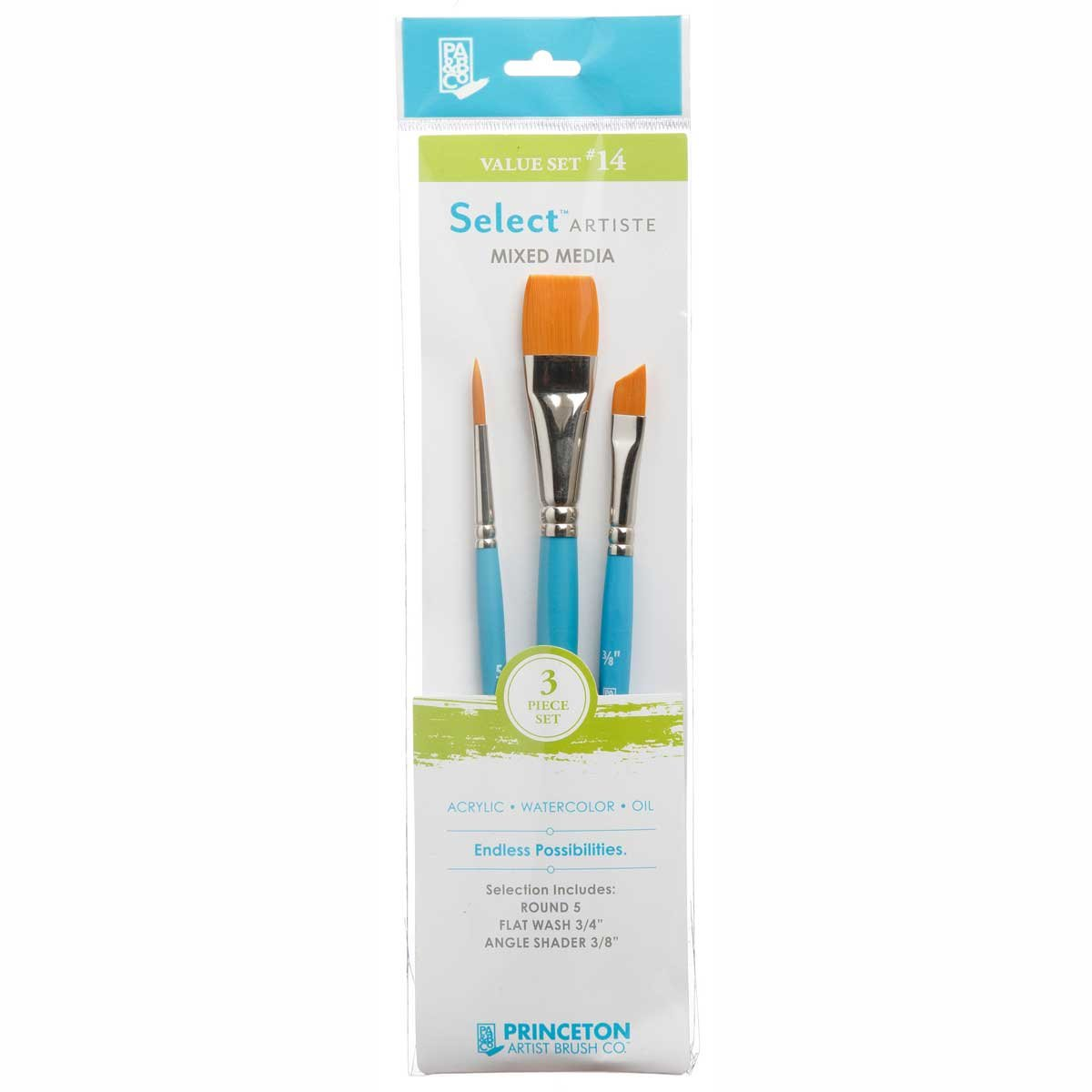 Princeton Select Artiste, Mixed-Media Brushes for Acrylic, Oil, Watercolor Series 3750, 3 Piece Value Set 114