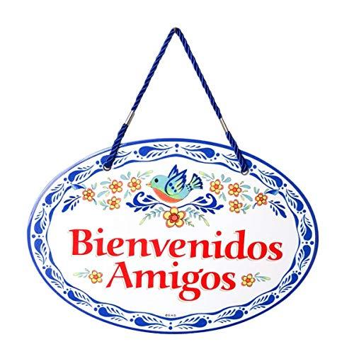 Essence of Europe Gifts E.H.G Bienvenidos Amigos Decorative Ceramic Latino Door Sign - Cor Sign