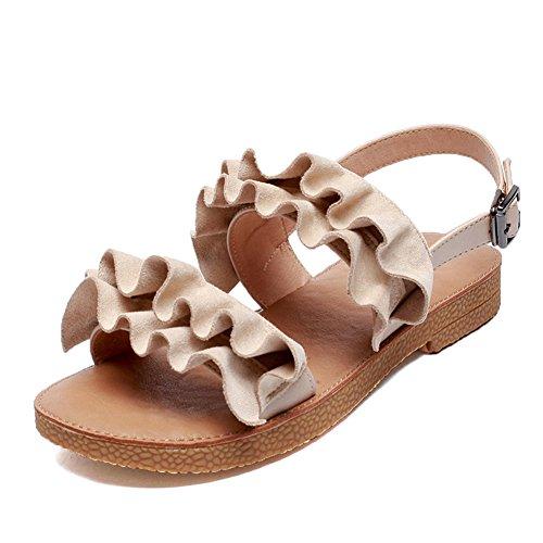 cf74b0c61b4 Chic QIDI Sandalias Mujer Verano De Moda Antideslizante Fondo Plano Zapatos  Individuales ( Color   Albaricoque
