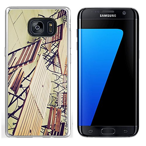 (Luxlady Samsung Galaxy S7 Edge Clear case Soft TPU Rubber Silicone IMAGE ID 27620877 Vintage looking Tables and chairs of a dehors alfresco bar restaurant pub)