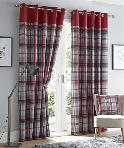 Homemaker Lined curtains with eyelet rings red & grey or charcoal & taupe tartan check