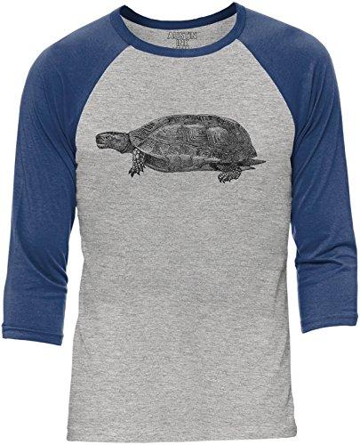 Austin Ink Apparel Happy Turtle Grey Unisex 3/4 Sleeve Baseball Tee Navy, M -