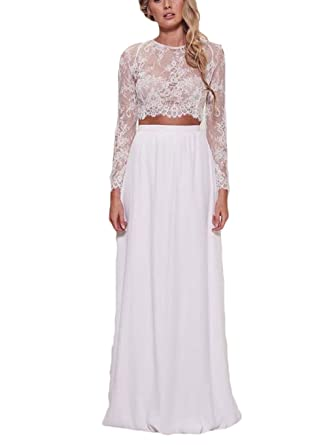 4d9a54fe5b2ab Amazon.com: Ri Yun Sexy 2 Piece Lace White Prom Dresses Long Sleeves Evening  Gowns 2018 Beach Wedding Dresses For Bride: Clothing