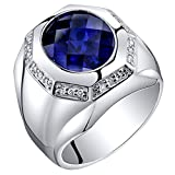 Mens 6 Carats Created Sapphire Octagon Ring Steriling Silver Size 10
