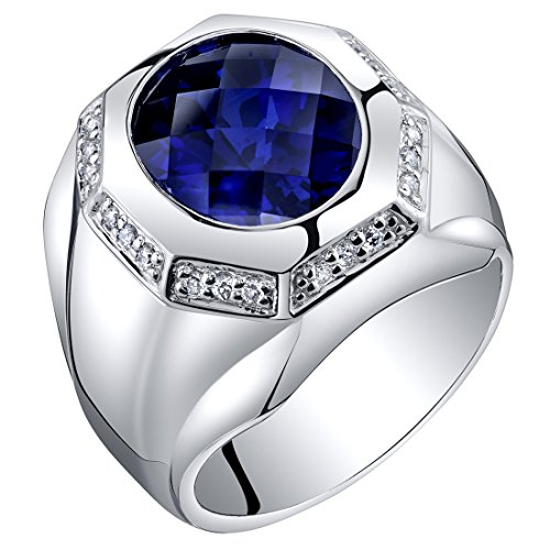 Octagon Blue Sapphire - Peora Mens 6 Carats Created Sapphire Octagon Ring Steriling Silver Size 13