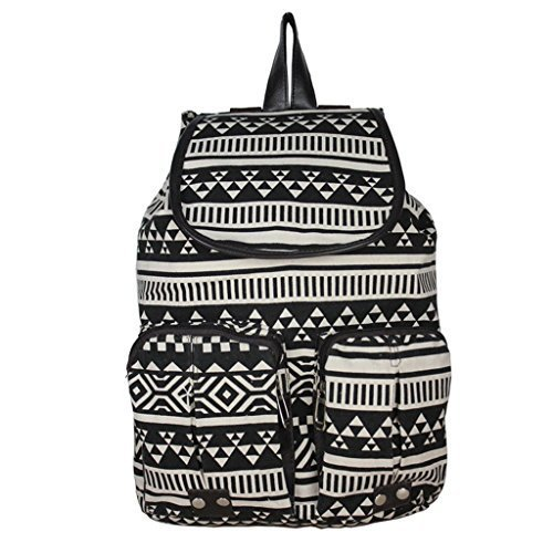 Unisex Vintage Retro Floral Ladies Canvas Backpack School Bag Super Cute School College Laptop Bag for Teens Girls Students (Black and White Pattern)