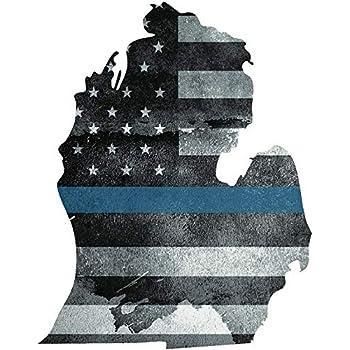 Michigan HELMET Decal Police Blue Line MI Tattered American Flag Sticker 4 Pack