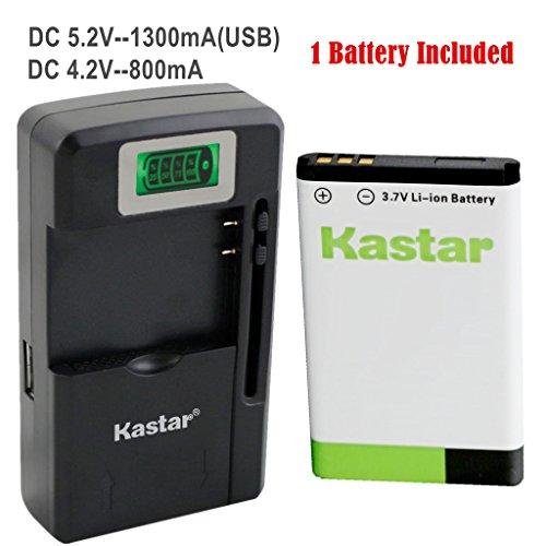 Kastar BL-5C Battery 1-Pack and intelligent mini travel Charger for Shortwave All Hazard Radio, V-115 Portable Shortwave Transistor Radio AM/FM Stereo, Meloson Enhanced Portable AM FM Weather Radio