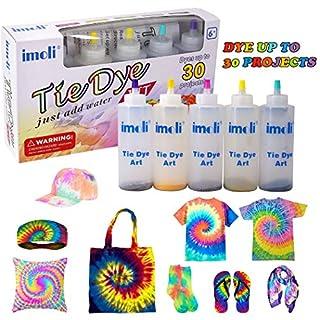 imoli 5 Neon Colors Kids Tie Dye Kit, One-Step Adults Tie Dye Set, Fabric Dyes Art Paint for Women, Men, Fashion DIY Gift, Textile, T-Shirt, Canvas Supplies