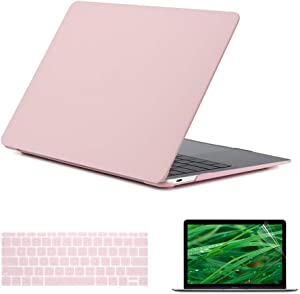 Se7enline 12 inch MacBook Case 2015/2016/2017/2018/2019 Laptop Hard Shell Cover Case for MacBook 12-Inch Model A1534 with Retina Display, Silicone Keyboard Cover+ LCD Screen Protector, Rose Quartz