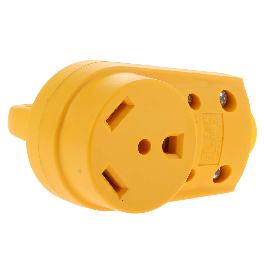 Homyl 125V/30Amp Heavy Duty RV Replacement Famale Plug with Ergonomic Grip Handle, Yellow