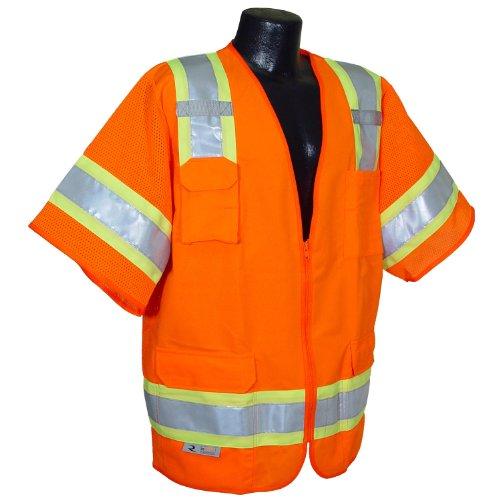 Radians SV63OL Polyester Class 3 Two Tone Surveyor Safety Vest, Large, Orange
